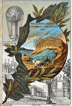 June 15, 1785: First aviation fatality. The victims were Jean-Francois de Rozier and Pierre Romaine, who were trying to fly across the English Channel from France to England. The wind suddenly changed and blew them back to France. Then the balloon suddenly deflated and they crashed. De Rozier's family got a pension. His fiance committed suicide. And the type of balloon they used, using a combination of hydrogen and heated gas in separate compartments, is still called a Rozier.