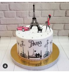 Paris Birthday Cakes, Paris Themed Cakes, Paris Themed Birthday Party, 12th Birthday Cake, Birthday Cakes For Women, Bolo Paris, Cake Paris, Lps Cakes, Eiffel Tower Cake