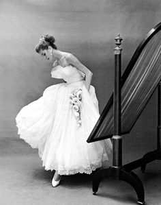Suzy Parker in a lace & tulle evening dress by Jacques Heim, photographed by Georges Dambier for ELLE, November 2 1953.