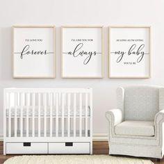 I'll Love You Forever printable, Nursery Wall Art, Nursery Decor, Baby Shower Gift, Baby Girl Nursery, Baby Boy Nursery, Set of 3 by PrintableSky on Etsy https://www.etsy.com/listing/553411182/ill-love-you-forever-printable-nursery