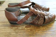 vintage chocolate brown leather karen scott t strap woven huarache sandal // women's size 8 by btdrvintage, $18.00