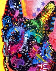 Mixed media German Shepherd Painting by Dean Russo