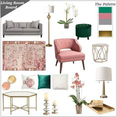 feminine and girly Living room inspiration board in grey and white with blush pink, dusty rose, emerald green and gold accents.