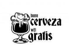 Divertido vinilo bares Buena Cerveza, Wifi gratis 05442