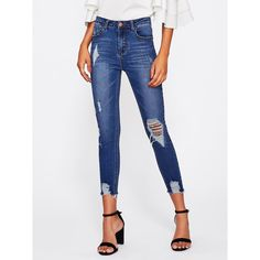 6e046b012e Bleach Wash Distressed Jeans ($18) ❤ liked on Polyvore featuring jeans,  blue,