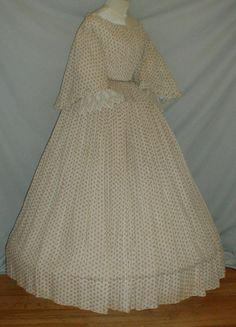 """Charming 1860's Cotton Print Dress w Pagoda Sleeves 