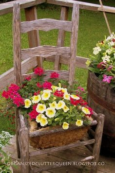 using old doors in landscaping | Attractive Idea Used Old Chair For Planting Flowers Picture-Interior ...