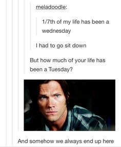 funny, jared padalecki, sam winchester, supernatural, tuesday, tumblr ...