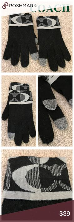 "COACH Knit ""Tech"" Gloves NWOT Coach gloves with tech-capable fingers and thumbs. Black with sparkle flecks wool.  Top band is in grays and white and has Coach letter logos. One size fits most (S, M, L but not XL). Coach Accessories Gloves & Mittens"