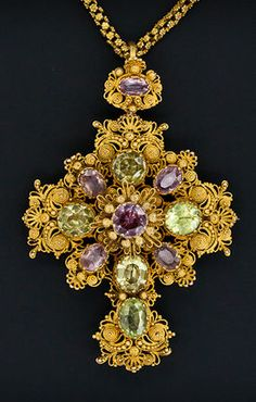 Pink Topaz & Chrysoberyl Cannetille Gold Cross c.1830