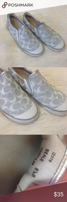 Coach Beale Canvas Shoes white flats Womens 8.5B There is some scuffing and some wear to the rubber toe and trim see photos for condition. have been washed. Coach Shoes Flats & Loafers