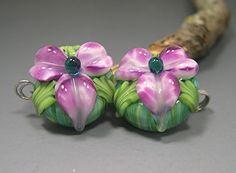 HANDMADE LAMPWORK EARRINGS pair glass beads Donna Millard white purple violet flowers sra