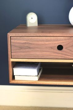 Floating Nightstand with Drawer in Walnut / Mid Century Modern Bedside Table Modern Bedside Table, Floating Nightstand, Bedside Tables, Floating Bed, Small Wooden Desk, Rough Sawn Lumber, Pure Tung Oil, Metal Slide, Birch Ply