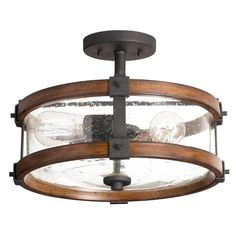 Kichler Lighting 3 Light Barrington Distressed Black and Ballard Wood Clear Glass Semi-Flush Mount Light | Lowe's Canada