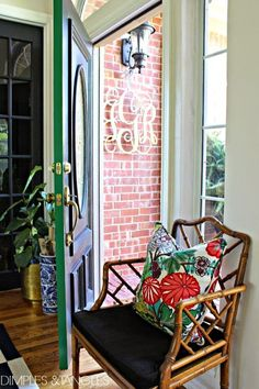 Entry // Foyer Styling // use a pop of color on the inside edge of a door // wood cut-out monogram // Chinese Chippendale chair // Chiang Mai Dragon pillow Vintage Home Decor, Diy Home Decor, Room Interior, Interior Design, Chippendale Chairs, Door Makeover, Entry Foyer, House Colors, Sweet Home