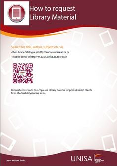 This guide will cover library services to students who cannot visit a Unisa library Instructions on requesting, delivery, renewal and returning library material Literature Search, Library Services, Library Catalog, Oasis, Author, Student, Learning, Studying, Writers
