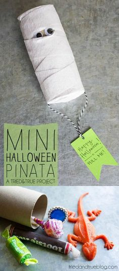 DIY Mini Piñatas for Kids Halloween Fun! - DIY Candy - DIY Mini Piñatas for Kids Halloween Fun! – DIY Candy Use a toilet paper roll and some crepe paper to make the cutest DIY Halloween mini pinata ever. You'll love finding out what's inside! Halloween Mono, Theme Halloween, Halloween Tags, Halloween Birthday, Holidays Halloween, Halloween Decorations, Funny Halloween, Diy Halloween Gifts, Birthday Games