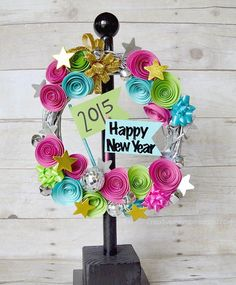 I came up with an idea for a New Years Eve Party Wreath! I am excited to share this pretty wreath with you! Recycled Crafts Kids, Edible Crafts, Family Crafts, Diy Wreath, Wreath Ideas, Merry Christmas And Happy New Year, Cute Crafts, Decor Crafts, New Years Eve Party