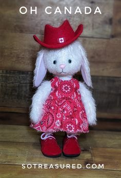 Flopsy bunny celebrates Canada dressed in red & white! You can make your very own with the bunny pattern and supplies available at sotreasured.com. Elephant Pattern, Cat Pattern, Free Pattern, Bunny Rabbit, American Girl, Red And White, Sewing Patterns, Teddy Bear, Canada