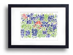 art print Bluebonnet and Indian paintbrush field by TheJoyofColor