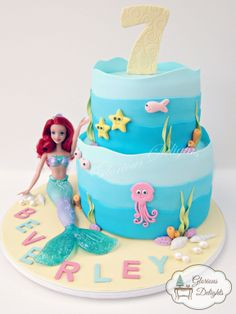 Under water world theme cake with Ariel mermaid toy.  Follow me on facebook www.facebook.com/glorious.delights