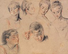 Antoine Watteau (1684–1721) Studies of Seven Heads, c. 1717–18. Red, black, and white chalk, graphite