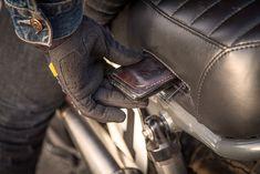 Handy seat-pad storage on Teeth Gnasher, a Triumph Scrambler custom by Thor Drake Triumph Scrambler, Dominator Scrambler, Motos Bobber, Scrambler Custom, Scrambler Motorcycle, Triumph Motorcycles, Custom Motorcycles, Custom Bikes, Guzzi V7