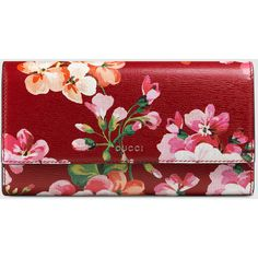 Gucci Blooms Print Continental Wallet ($670) ❤ liked on Polyvore featuring bags, wallets, leather wallets, natural, real leather wallet, gucci wallet, red wallet, snap wallet and snap closure wallet