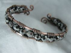 Silver Crystal and Copper Wire Wrapped Cuff by GeishaCreations, $35.00