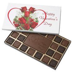Valentine's Day Heart Rose Bouquet 45 Piece Box Of Chocolates