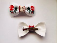 Items similar to Hair Bow- hair Barrettes - hair clips- hand embroidery - cross-stitch inches or 9 cm- gudimaO on Etsy Hand Embroidery Stitches, Cross Stitch Embroidery, Cross Stitch Patterns, Knitting Patterns, Embroidery Patterns, Cross Stitch Love, Cross Stitch Flowers, Hair Clips, Hair Barrettes