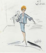 "Edith Head (2) original costume sketches of Lucille Ball as ""Angela Ballantine"" in Critic's Choice."