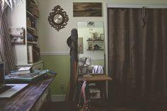 burlap closet curtains