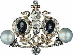 THE ROMANOVS JEWELRY ~ The pearl and diamond brooch created as a present to the celebrity date of Alexander III and Maria, parents of Nikolay II. Their portraits in miniatures are performed on enamel according to national traditions of jewelry performance.  Was presented to the court and nobles close to the Imperial family. The end of the 19th century.