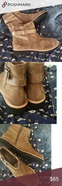 Rugged Style Ankle Boots.   **NEW - Very soft and smooth synthetic suede - Buckle straps - Cushioned insoles - Side zipper - Elasticized gore - Super light GORGEOUS Brownish/Grayish color suede  ** These are New Without Tags. Never worn.  {Size 9M} Shoes Ankle Boots & Booties