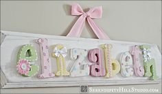 Custom name plaque - made to order wall letter sign, personlized heirloom quality children's nursery art and decor by SerendipityHillShop on Etsy https://www.etsy.com/listing/183025795/custom-name-plaque-made-to-order-wall