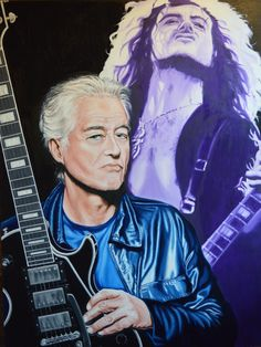 "Jimmy Page ""Then and Now"" Oil on canvas size 1016mm x 762mm For Sale £1340"