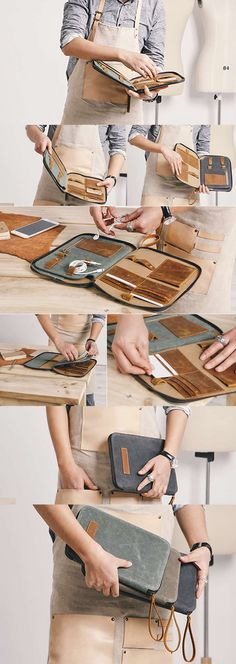 Canvas Genuine Leather Travel Business Portfolio Bag Professional Organizer  Pen Pencil Case iPhone Cell Phone Case Bag Coin Purse Charge Cable Cord Organizer Headphone Earphone Cord Cable Organizer Key Case Key Pouch Business Card Holder Case Credit Card Case Holder