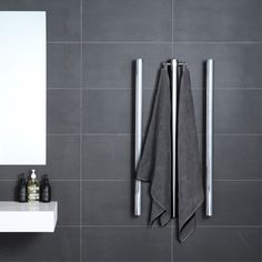 Tube & Robe Hook Heated Towel Rail By Hydrotherm - Just Bathroomware