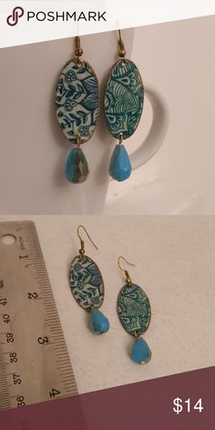 Hand Crafted Blue Floral Paper Earrings - OOAK This is a pair of up-cycled cardboard decoupage earrings.  They are hand made from cardboard, glass beads, decoupage glue and sealed in acrylic.  These were made by me.  They are one of a kind and never worn. They measure approximately 2 inches long and 1/2 wide. Christine Makes Things Jewelry Earrings