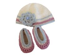 Crocheted baby beanie hat and ballet slipper shoes - The Supermums Craft Fair