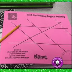 Finding the missing angles review activity. Part of a collection of fun & engaging year end activities for the math classroom.