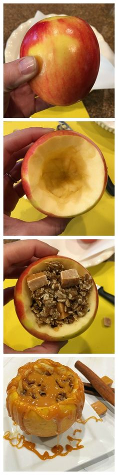 How to make baked caramel apples for dessert. SO easy and a delicious apple treat!