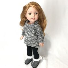 Grey Pullover for Wellie Wishers Doll Grey Pullover for Willie Wishers Doll Knitted Dolls Dress Pattern, Doll Dress Patterns, Clothing Patterns, Ag Doll Clothes, Diy Clothes, Nancy Doll, American Girl Clothes, American Girls, Wellie Wishers Dolls