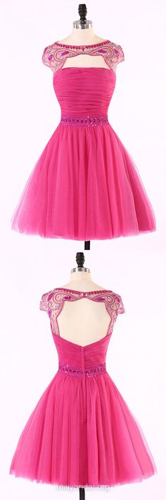 Pink Homecoming Dresses,Scoop Neck Cap Straps Party Gowns,Tulle with Beading Cocktail Dresses,Open Back Short Prom Dresses