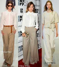 Serán los más usados: Los pantalones anchos; en tonos monocromáticos o estampados.