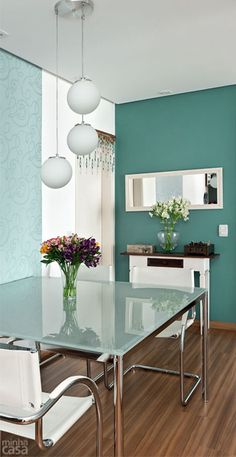 ooooh I like it! Dream Home Design, Home Interior Design, House Design, Teal Accent Walls, Dinner Room, Decoration, Home And Living, Accent Decor, Sweet Home