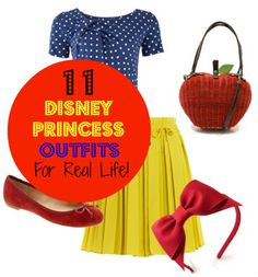 Dress Like a Disney Princess: 11 Princess Inspired Outfits -- I'm not a Disney girl, but these outfits were pretty clever. - Personally looking for Tiana's dress in my price range. :P