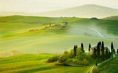 Télécharger fonds d'écran La toscane, 4k, le brouillard, l'été, de collines, de l'Europe, Italie