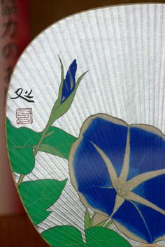 """Morning Glory""  Japanese paper fan (-uchiwa-) Imopea--designated 'imperialis'--In Japanese, called ""morning face"" or ""asagao"""